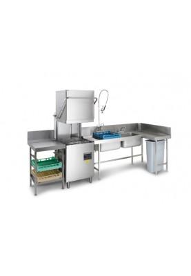 Priekšmazgāšanas galds ar 2 izlietnēm ,bortu ,plauktu un caurumu atlieku savākšanai